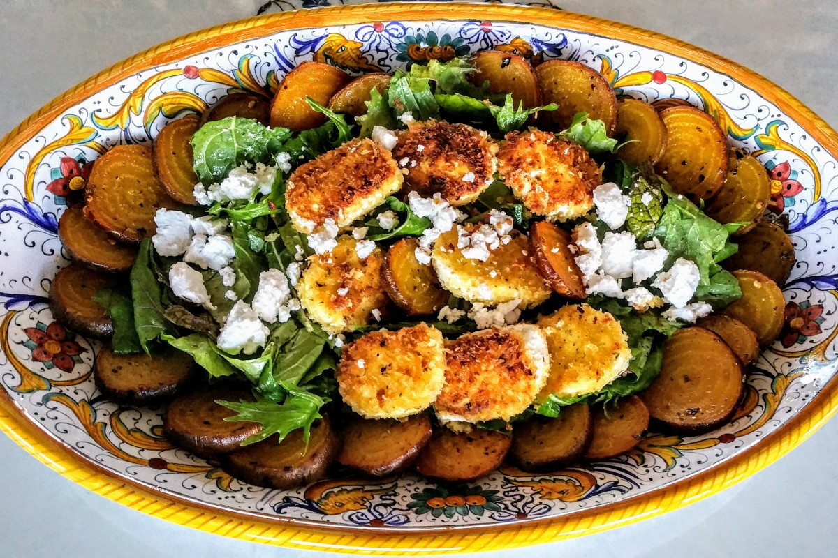 Golden Beet Salad (topped with crispy goat cheese ...