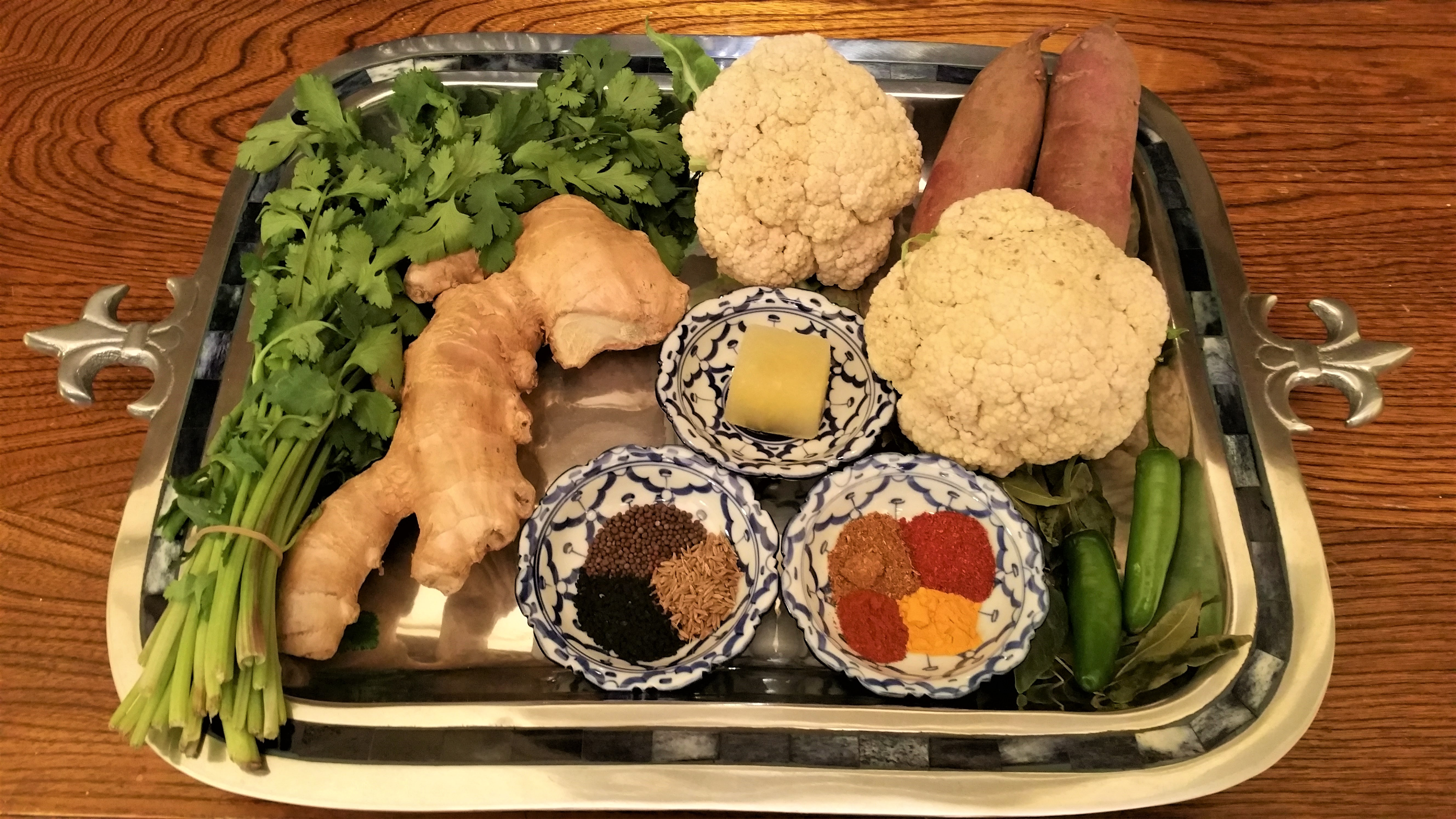 Braised Cauliflower and Swee Potato Ingredients