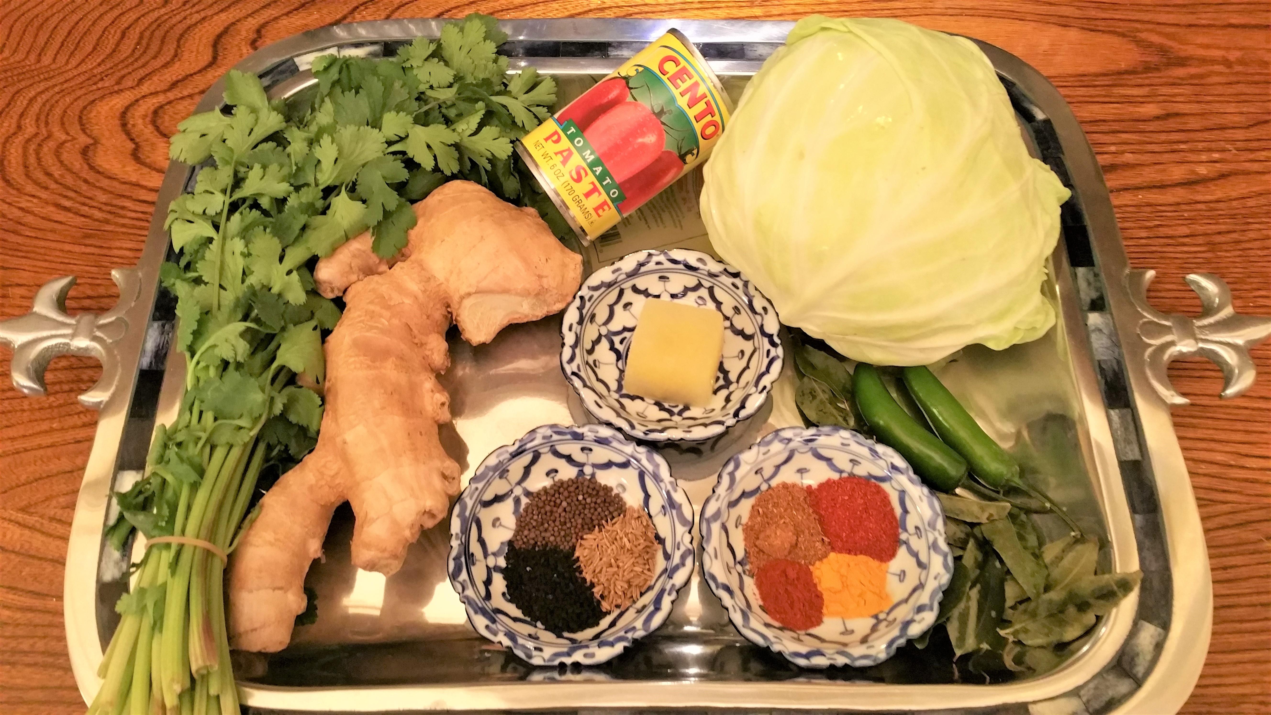 Punjabi Curried Cabbage Ingredients