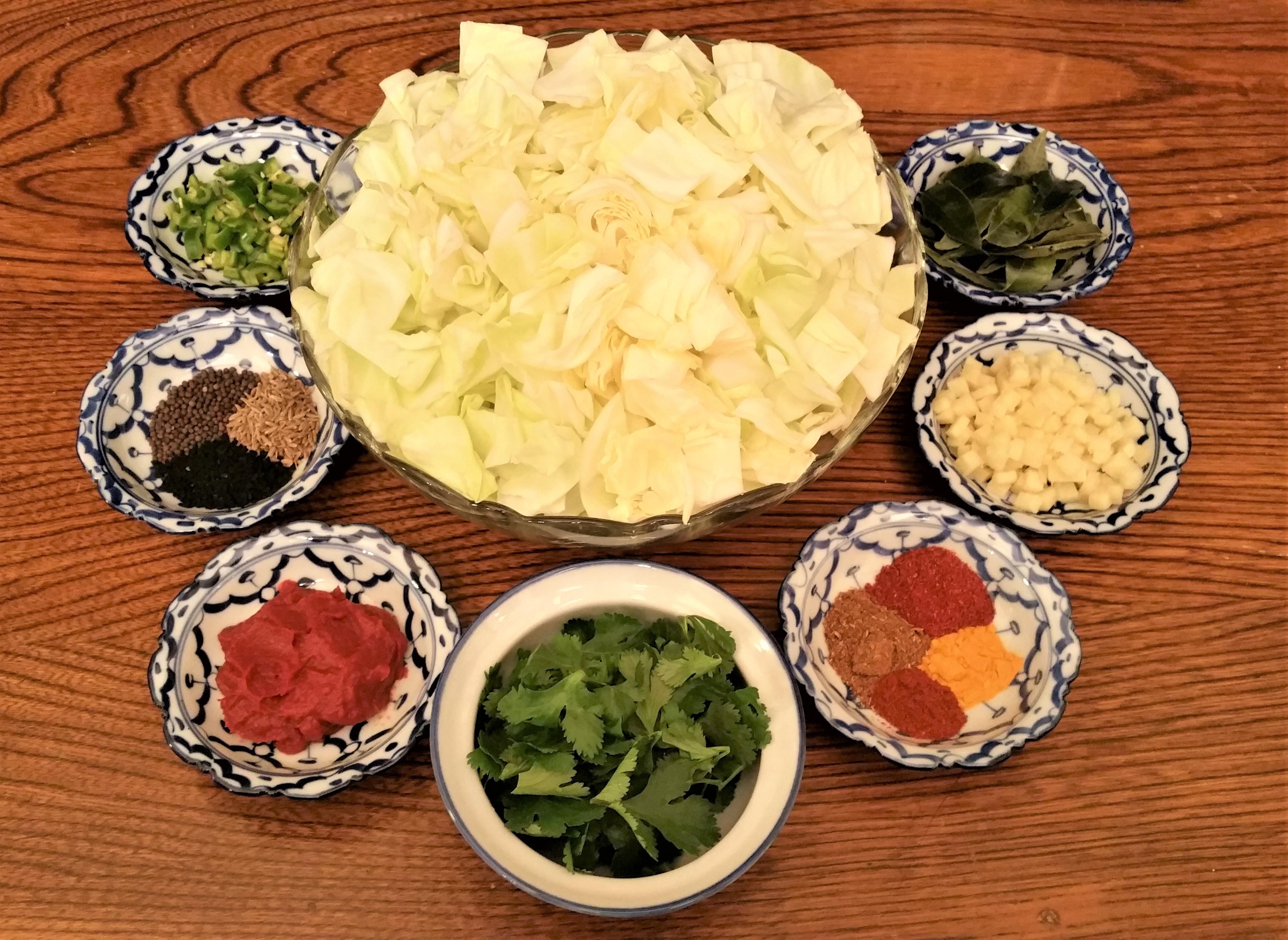 Punjabi Curried Cabbage Prep