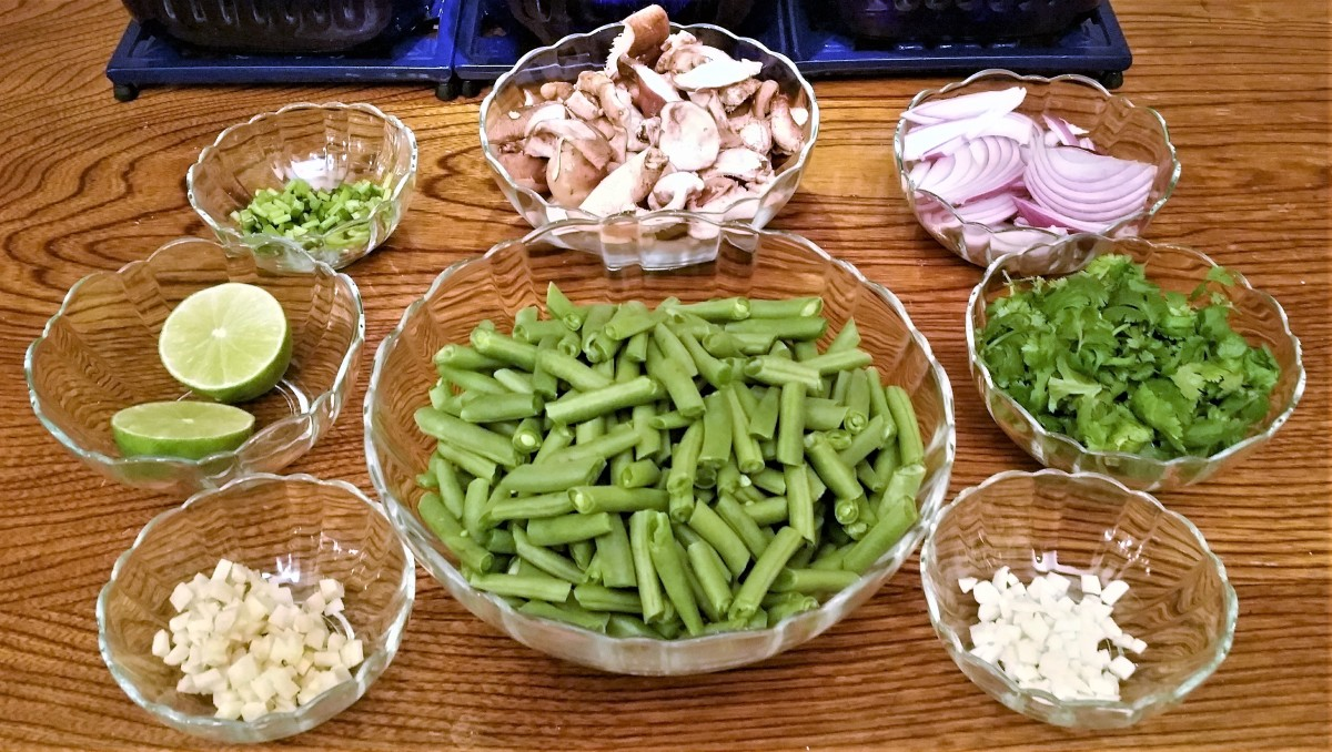 Green Beans & Shiitake Mushrooms Prep