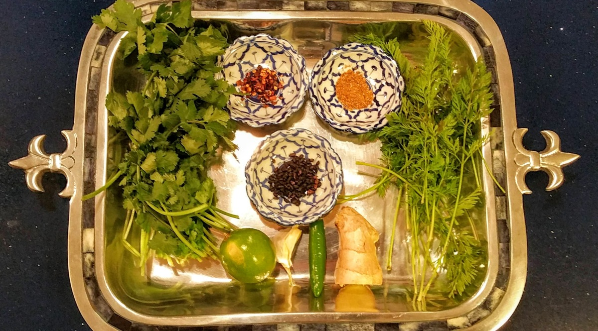Carrot Tops and Coriander Chutney Ingredients