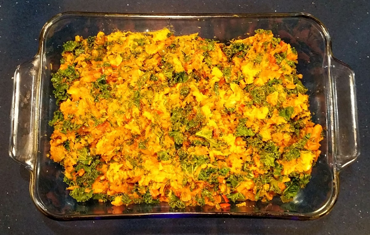 Roasted Sweet Potatoes & Kale Base Combined into a Hash