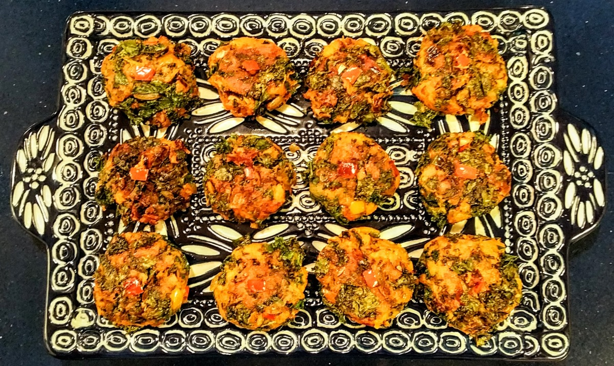 Sweet Potato & Kale Tikkis, cooked