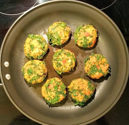 Sweet Potato & Kale Tikkis Pan Frying