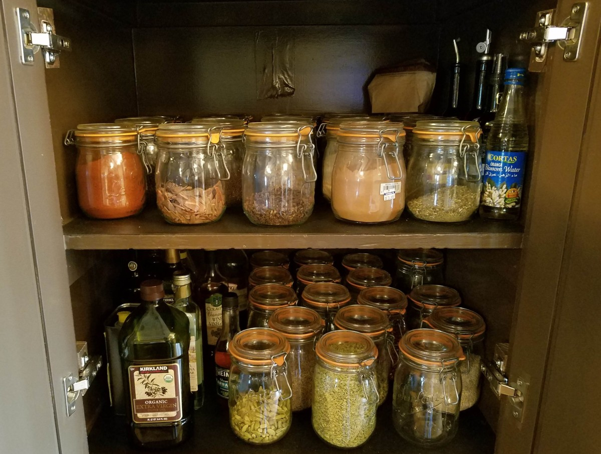 Storing Spices Dark Cabinet