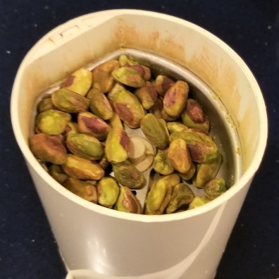 F. pistachios in coffee grinder