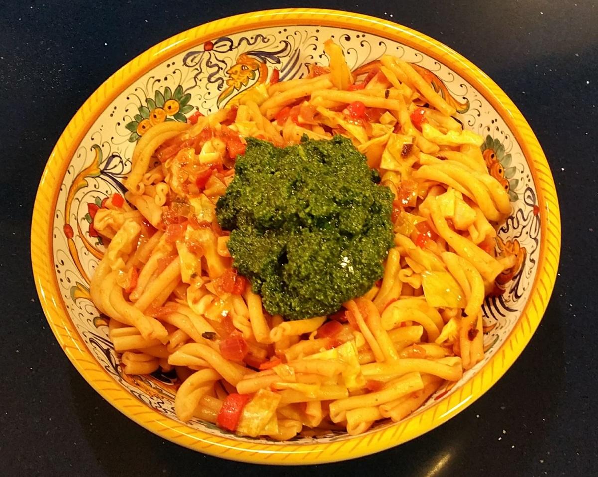 Adding the Pesto