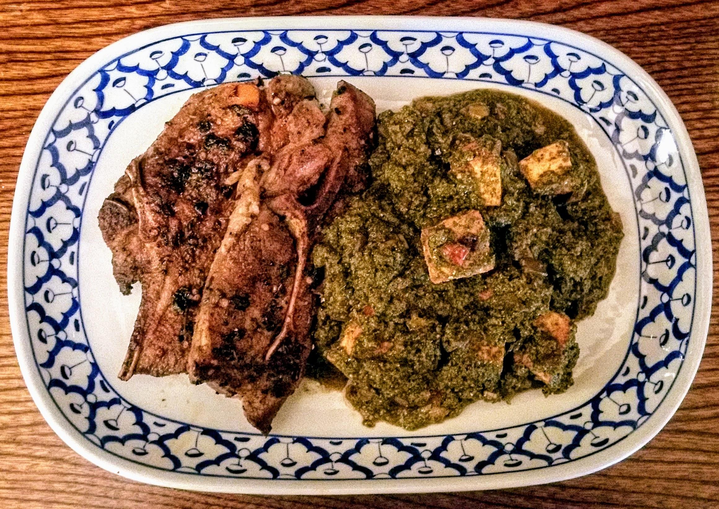 Amritsari Masala Lamb Chops served with Mustard Green Saag Paneer