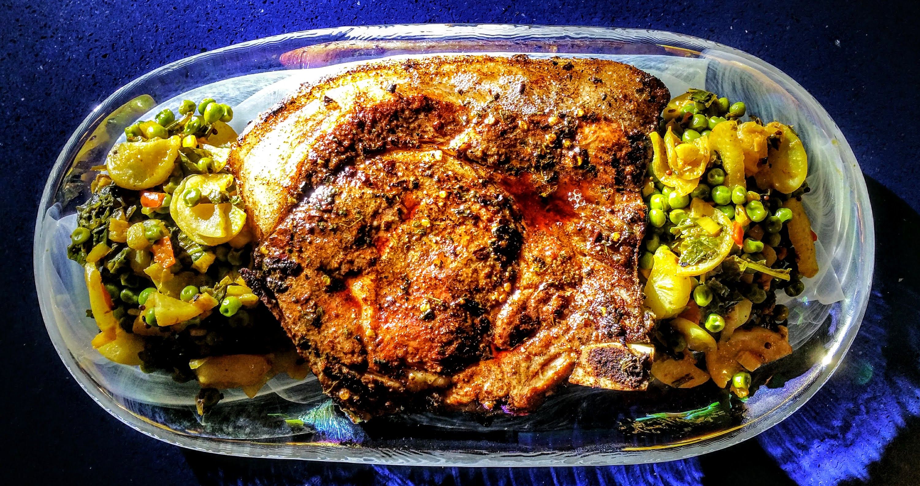 Pork Loin Rib Chops served with Curried Baby Turnips Feature