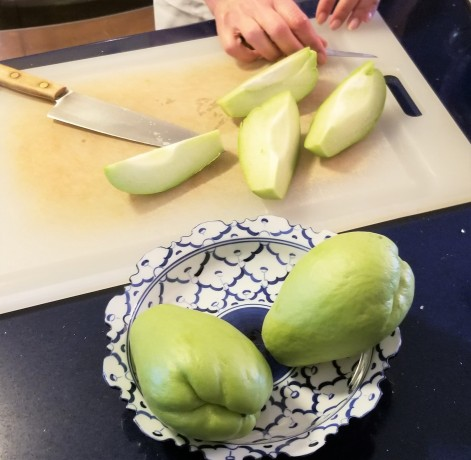 Prepping Chayote for Vegan Curry 2