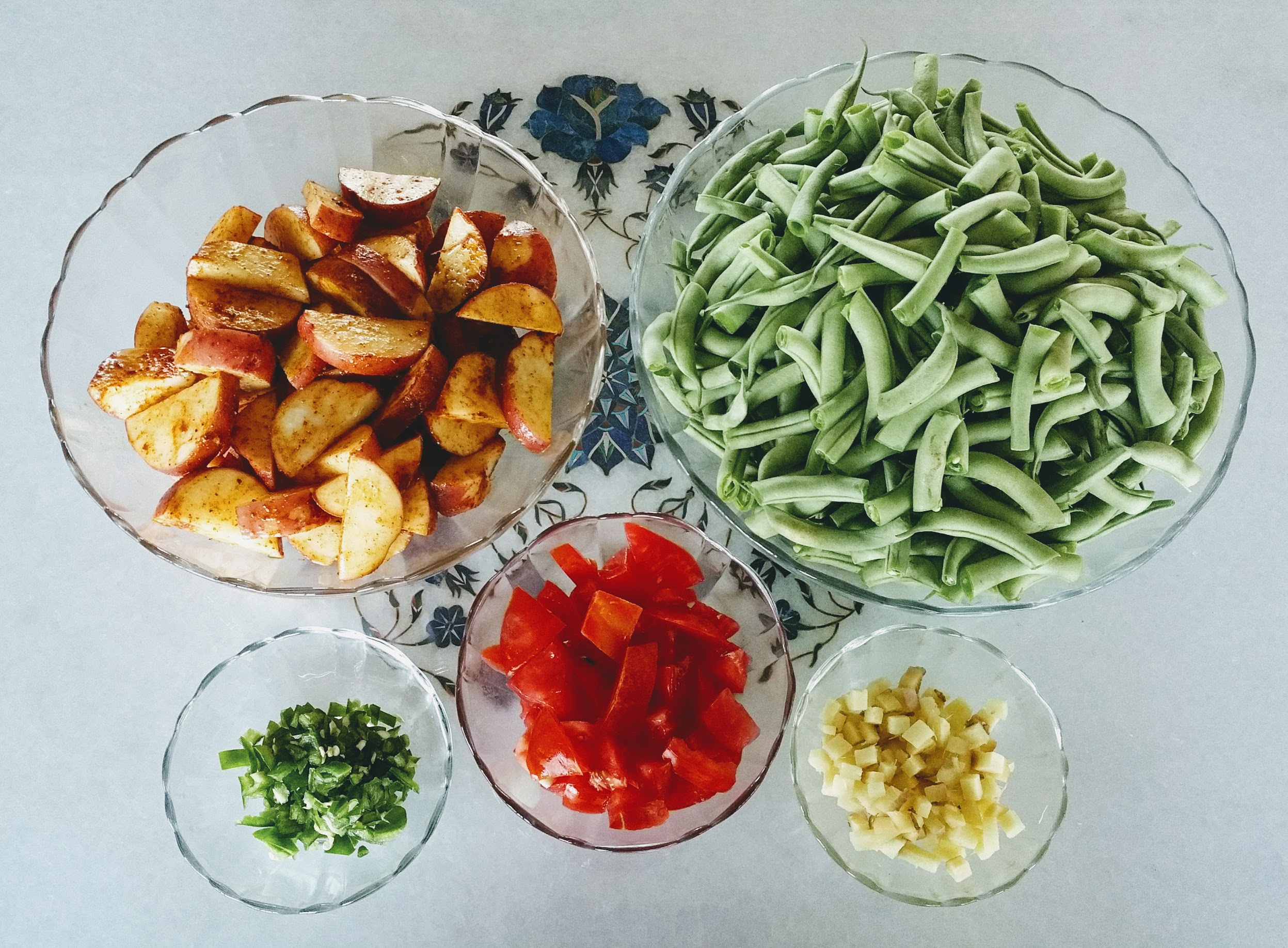 Green Beans & Red Rose Potatoes Prep