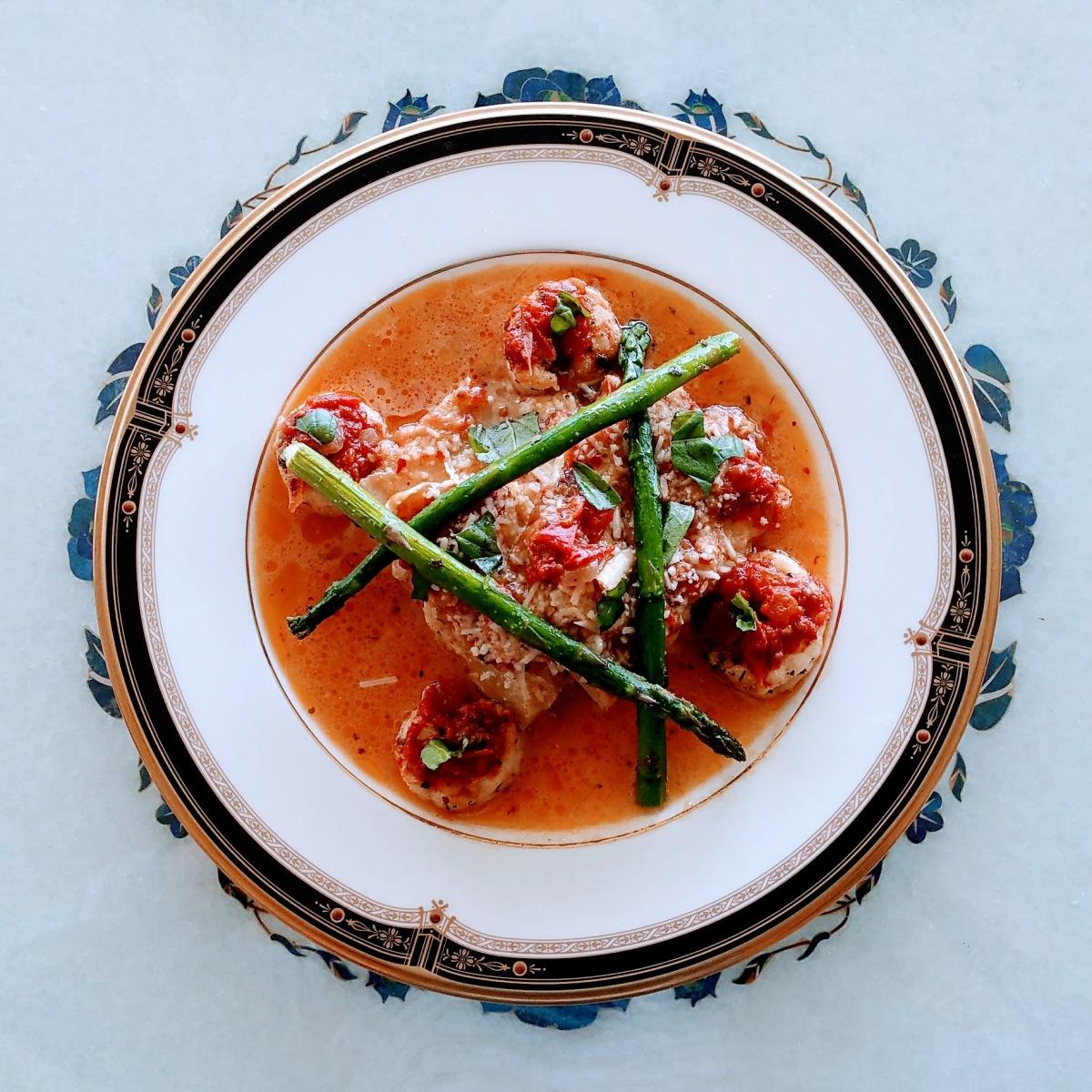 Patty Pan Parmesan Plated Meal